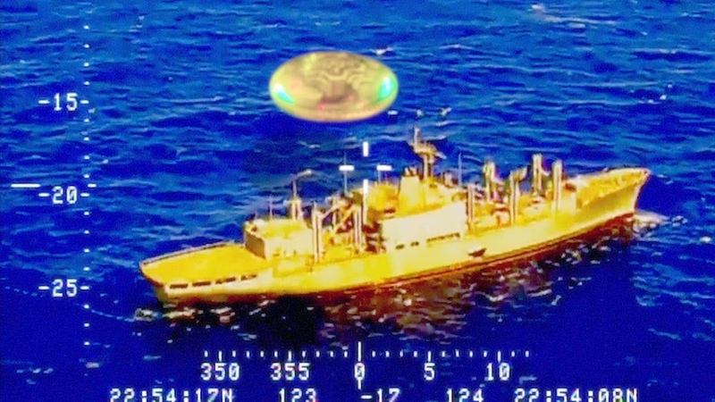 Amazing video shows UFO hovering near US Navy ship in Pacific Ocean July 2018