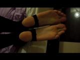 Long toes girl with stirrup leggings likes falaka bastinado