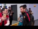 The Barça players with the fans at Castellón airport after the win at Villarreal