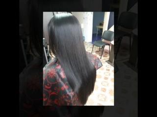 Студия Карамель. Кератиновое выпрямление волос. Состав смыт, волосы высушены феном, без расчески.