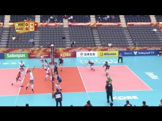 #8 Nataliya Goncharova unleashes with this razor-sharp swing as they lead 1-0 after winning 25-21 in the 1st set against Azerbai