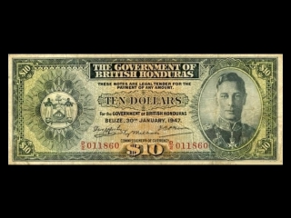 All british honduras dollar banknotes_1947 to 1952 george vi issues