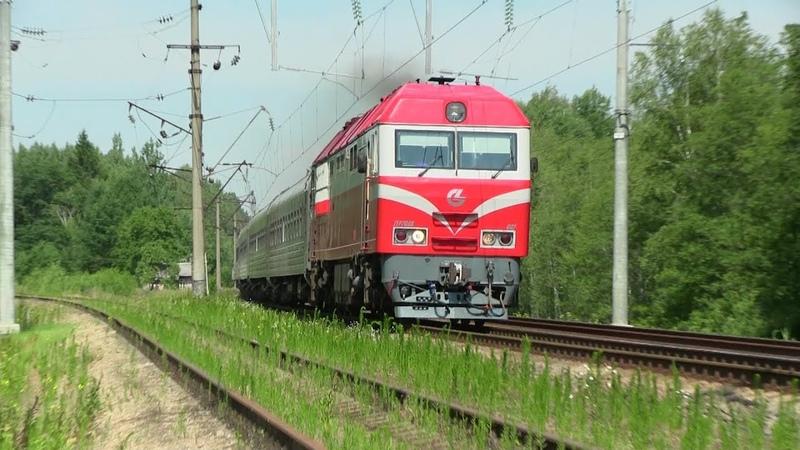 Тепловоз ТЭП70БС 002 на о п Каугонис TEP70BS 002 at Kaugonys stop