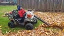 Power wheels with Stihl leaf blower