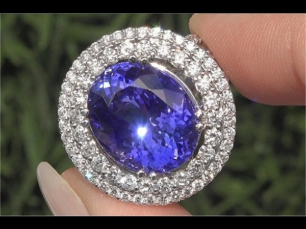 GIA Certified Natural FLAWLESS Tanzanite Diamond 18k White Gold Estate Ring TOP GEM - C925