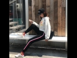 New Womens Autumn White And Red Striped Thin Silky Harem Pants Elastic Waist Pants Ins Fashion Casual Sweatpants814