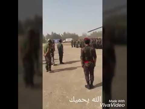 Момент прибытия бригадира Сухаила аль-Хасана «Тигр» Хама Аллаха и вместе с ним в начальнике Инженерного училища в деревне Хомс вчера встретились с героями сирийской арабской армии ..