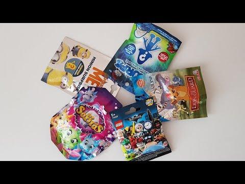 Микс сюрпризов в пакетиках Смурфики дракончики Safiras Хранитель Лев Lego Miniфигурки Бэтмен Миньоны