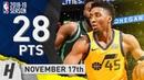 Donovan Mitchell Full Highlights Jazz vs Celtics 2018 11 17 28 Pts 6 Ast SICK