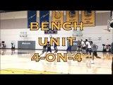 Bench unit 4-on-4 incl Damian Jones, David West, Quinn Cook, Jordan Bell, JaVale, Zaza