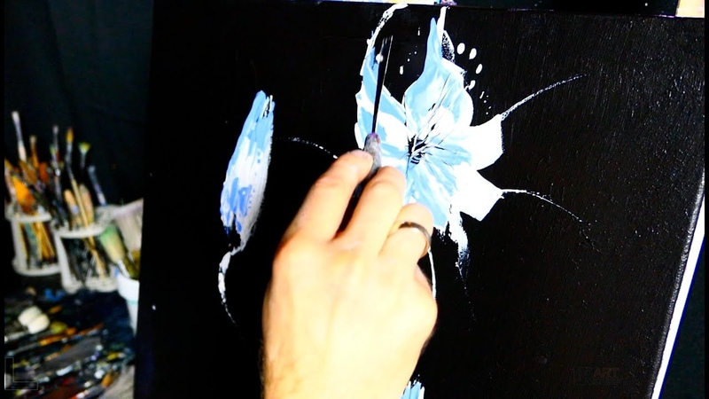NIGHT FLOWERS - pallet knife - simple abstract - acrylic painting by Dranitsin