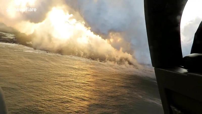 Liveleakcom - Aerial footage shows massive corrosive seawater plumes as lava hits Hawaii seas