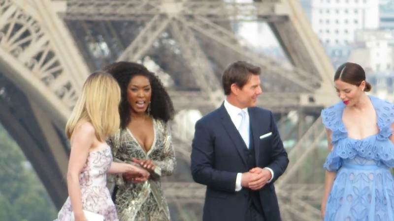 TOM CRUISE ALL FEMALE CAST OF MISSION IMPOSSIBLE 6 IN FRONT OF THE EIFFEL TOWER IN PARIS 2018