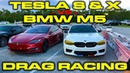 Tesla Model S and X P100D Ludicrous vs 600HP 2018 BMW F90 M5 1 4 Mile Drag Racing with VBOX Data