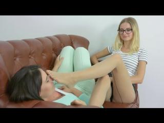 Amazing girls playing in tan pantyhose