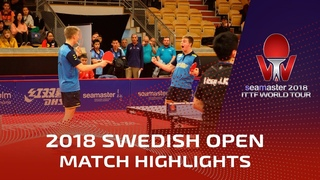 Fan Zhendong/Liang Jingkun vs Truls Moregard/Anton K. I 2018 ITTF Swedish Open Highlights (R16)
