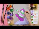 Как нарисовать снеговика на сноуборде - урок рисования для детей от 5 лет, рисуе