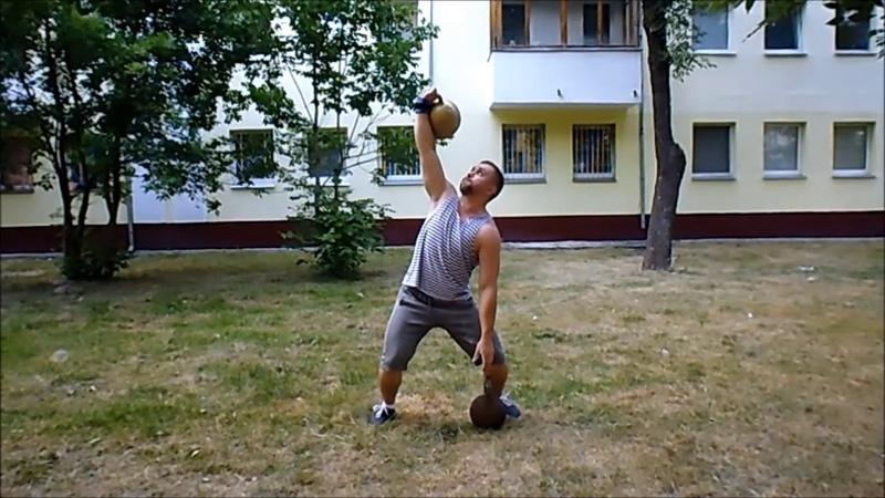 Тренинг с гирей 50 кг. Training with oldtime 50 kg kettlebell