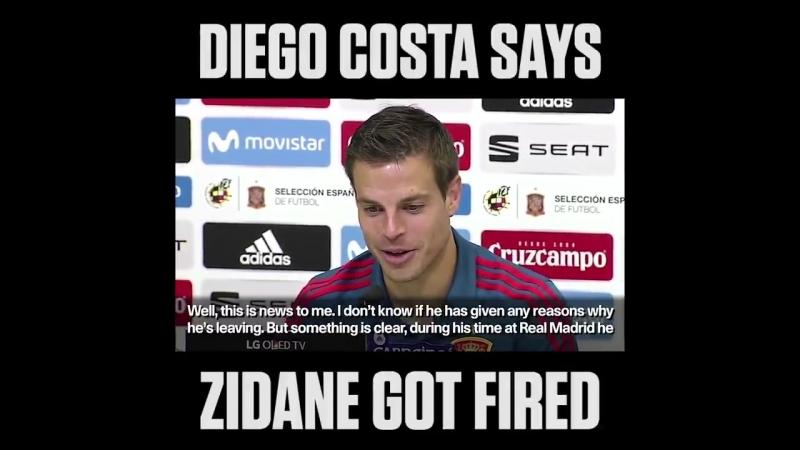 Cesar Azpilicuetas face when Diego Costa says Zidane got fired is priceless. 😂