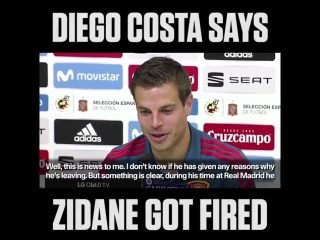 Cesar Azpilicueta's face when Diego Costa says Zidane got fired is priceless. 😂