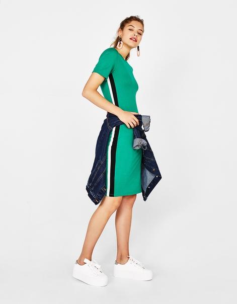 Платье миди с полосами по бокам