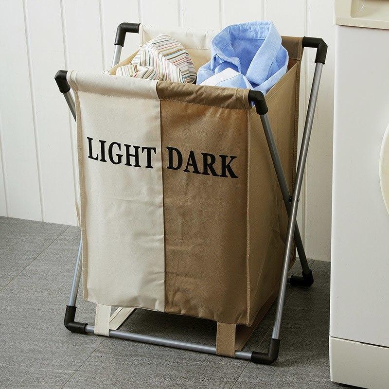 Бельевая корзинка с секторами для удобного распредеоения тмных и светлых вещей