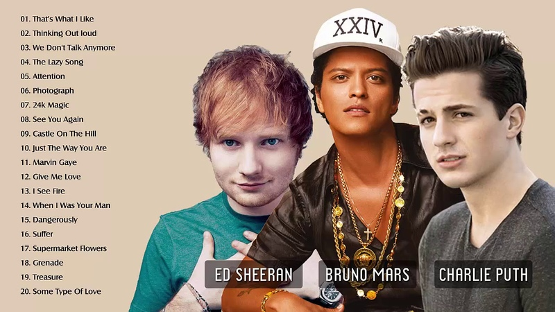 Charlie Puth Bruno Mars Ed Sheeran Greatest Hits Full Album - Best Love Songs Of All Time (HDHQ)