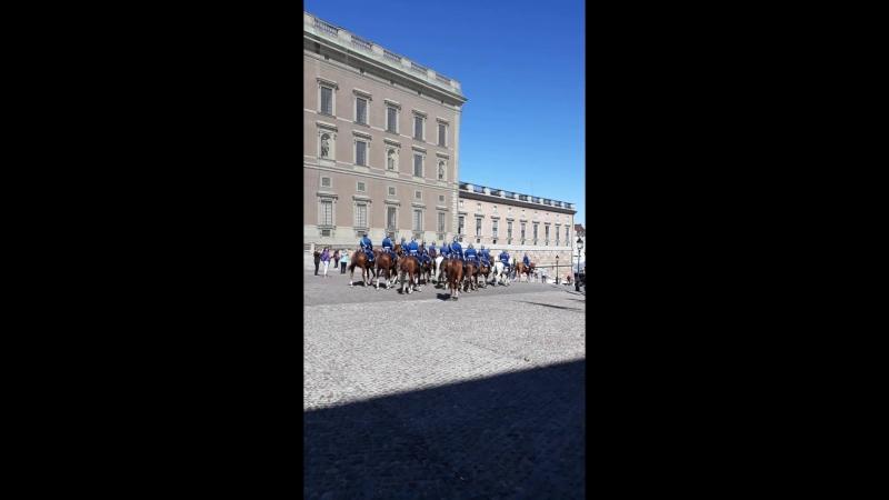 Развод конного караула возле королевского дворца в Стокгольме