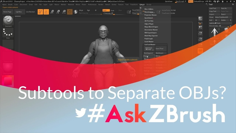"""AskZBrush: """"Is there a way to export out multiple Subtools to separate OBJ files?"""""""