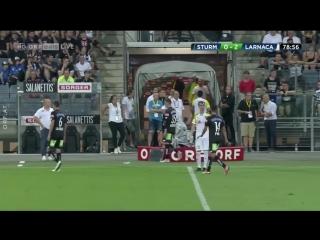 Linesman hit in head by object thrown by fan at sturm graz vs aek europa league game