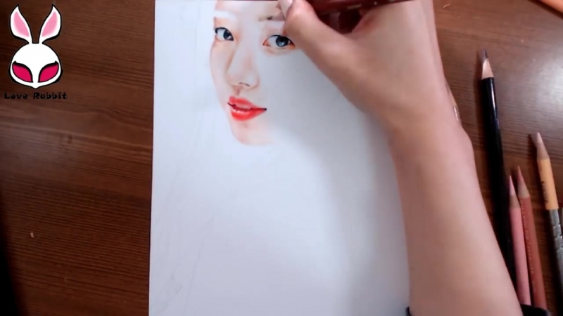 미스에이-수지 그림 그리기 (MissA-Suzy colored pencil portrait Speed Drawing) [Drawing Rabbit]