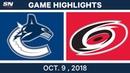 NHL Highlights | Canucks vs. Hurricanes - Oct. 09, 2018