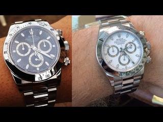 Rolex Daytona 116520 Black dial and White dial 40 mm Steel luxury watch shining on wrist