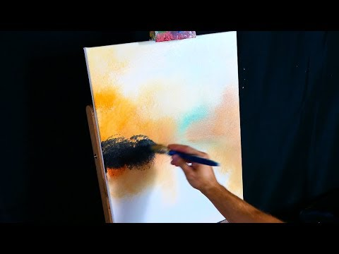 Painting birch trees on frozen winter lake simple step by step acrylic painting demo