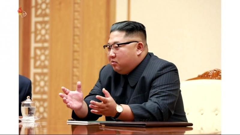 경애하는 최고령도자 김정은동지께서 우리 나라를 방문하고있는 로씨야련방평의회 의장을 접견하시였다