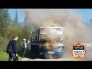 На крымской трассе загорелся рейсовый автобус