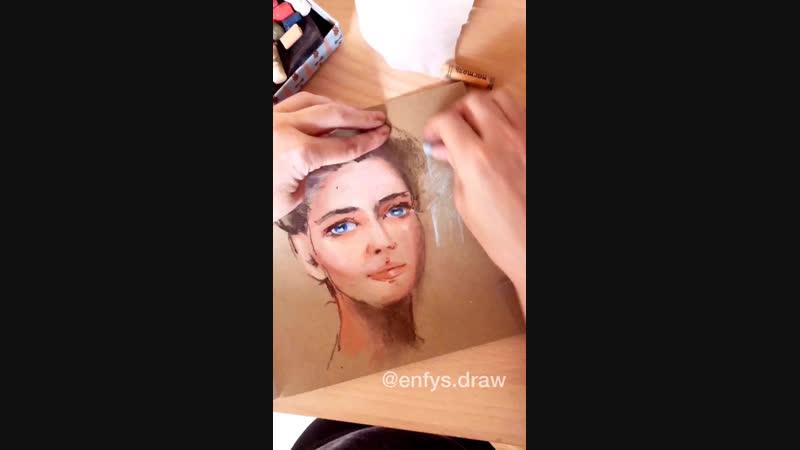 Процесс рисования портрета пастелью