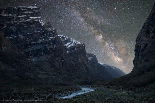 Ночное небо над Гималаями.