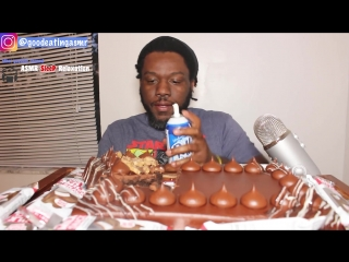 Asmr eating chocolate cake and whipped cream  crunchy eating sounds  no talking