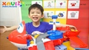 Xavi Learn English and Playing New Toys with Super Wings Jett's Takeoff Tower