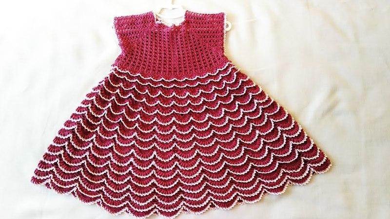 Платье малинка на девочку 5-6 лет Часть 2/2 / How crochet a dress