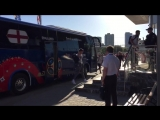 Precisely 27 hours before kick off against Tunisia, Stones and Sterling lead England off the bus as they arrive in Volgograd. Wo