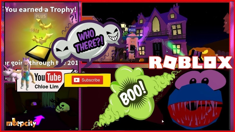 🎃 Roblox MeepCity HAUNTED HOUSE! Glitch into houses candy giver area! Jump Scare Loud warning!