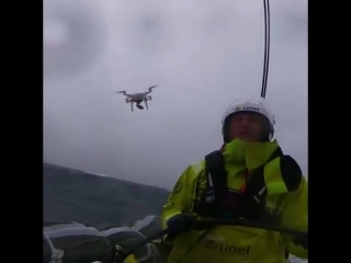When you catch a drone mid air while driving a Volvo Ocean Race boat at record speeds