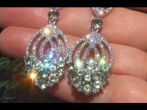 GIA Certified Natural Demantoid Garnet Diamond PLATINUM Estate Earrings - C812