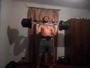Часть тренировки 05.11.18. Штанга 74 кг., кривая штанга 66 кг., гантели по 20 кг.