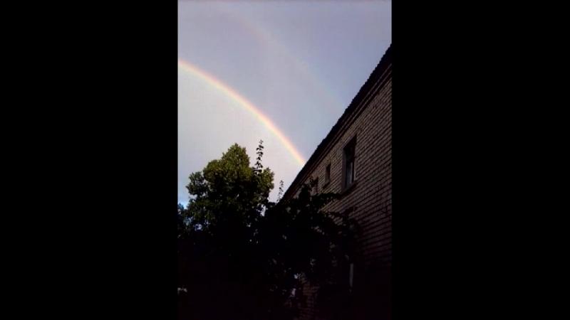 двойная радуга в небе над Никитовкой(сегодня 19.18