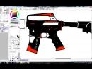 я рисую цвет красным и чёрным и белым