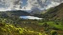 Картинка природа. Небо, горы, озеро, поля, деревья, Англия, Nant Gwynant, долина, облакаWales.