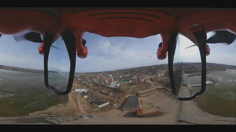 Видео 360 градусов Полет Нытва SJRC s30w Eken Pano360